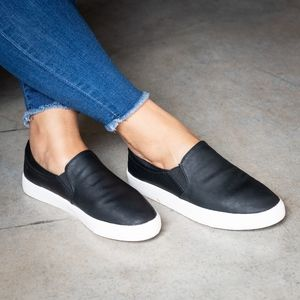 Black Faux Leather Slip on Sneakers
